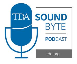 TDA SoundByte Podcast logo, showing a microphone combined with TDA logo.